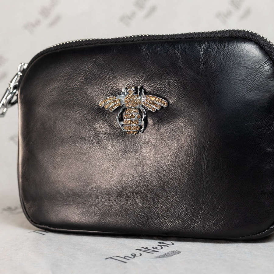 Black Leather Handbag with Bee Detail