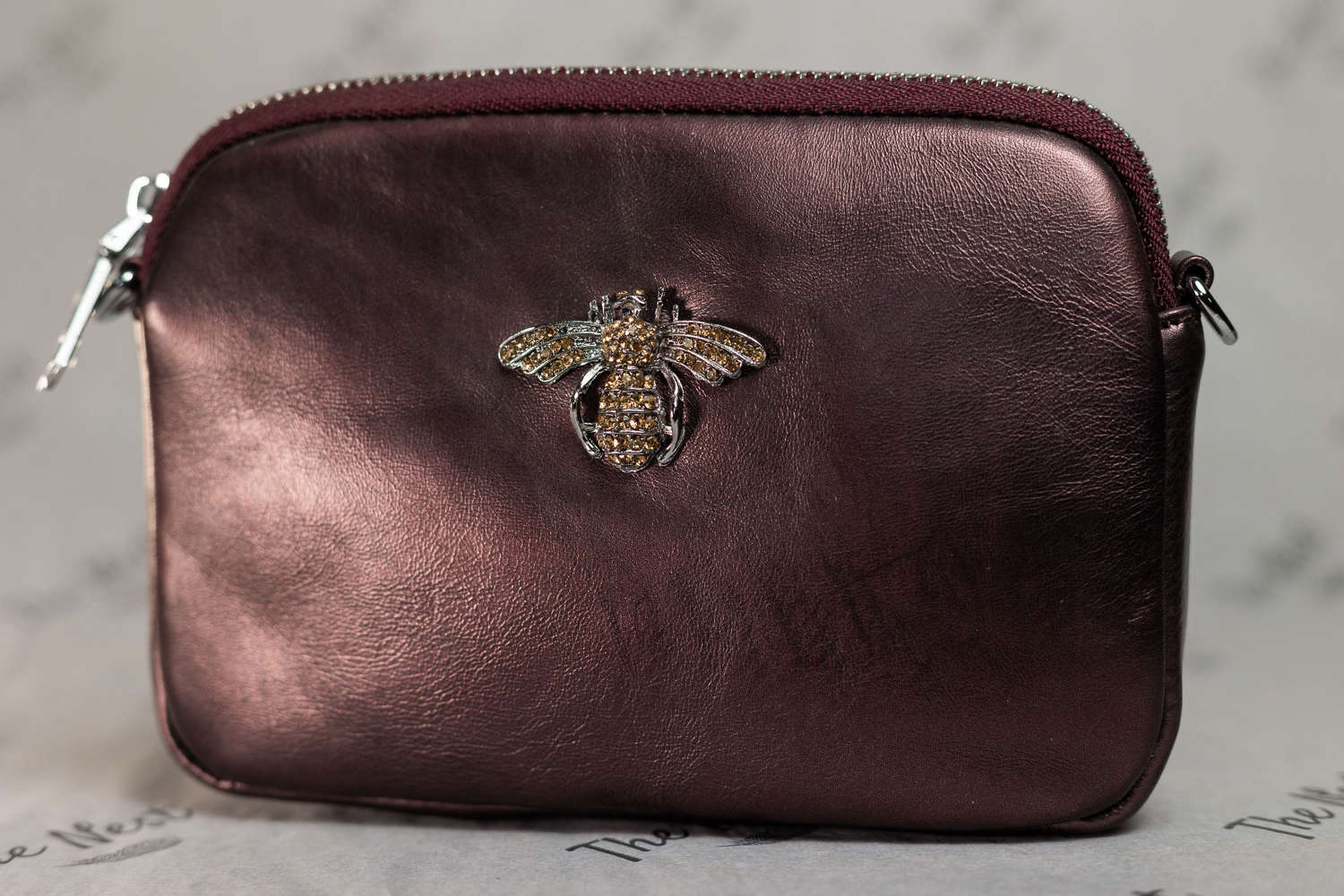 Chestnut Leather Handbag with Crystal Bee Detail