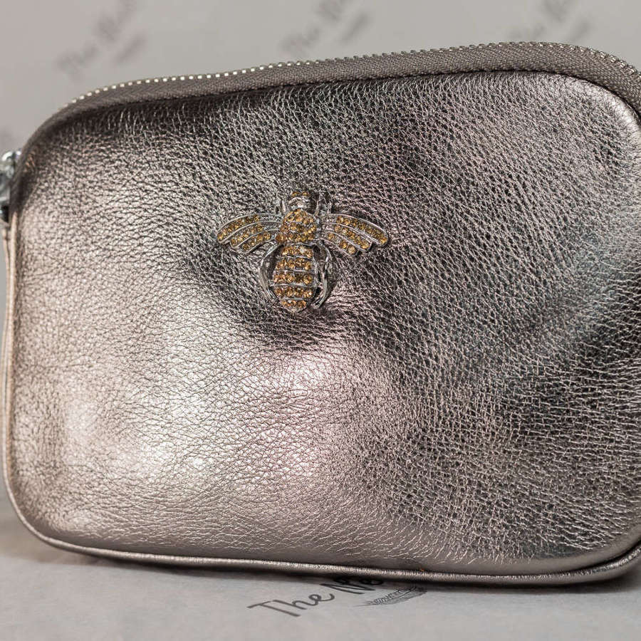 Silver Leather Handbag with Crystal Bee Detail