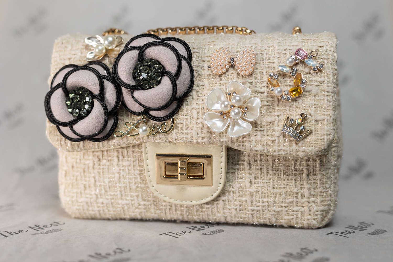Cream Chanel Style Embellished Handbag