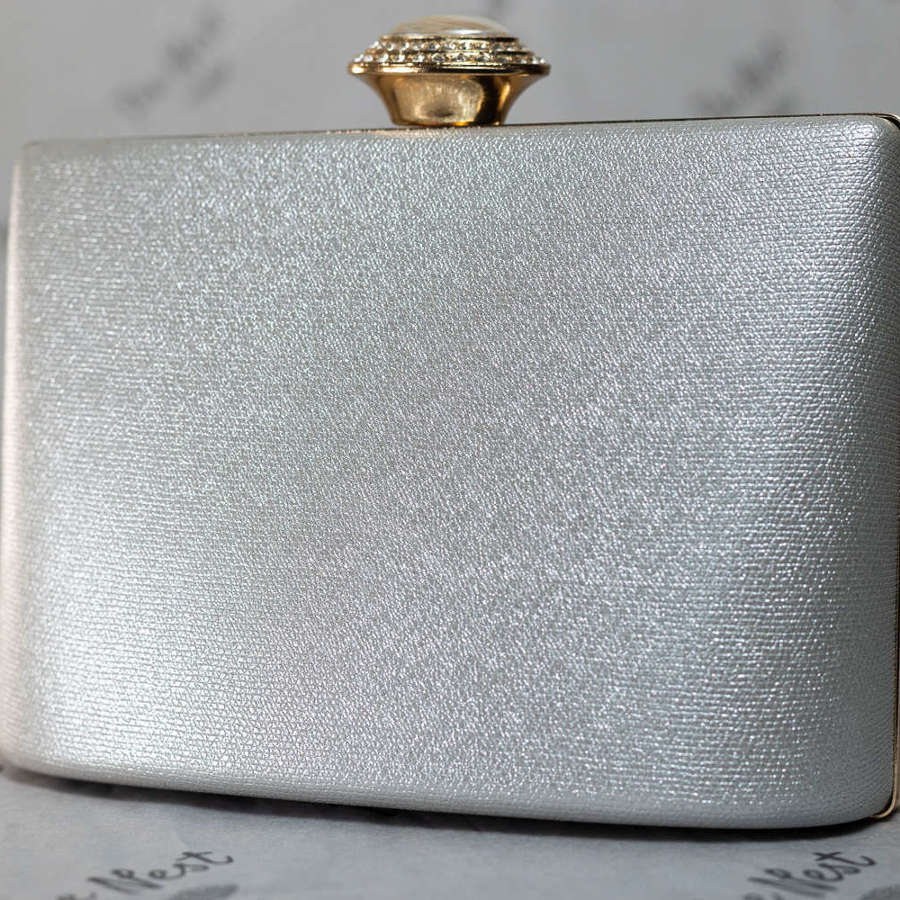 Pearlised Silver Grey Evening Bag.