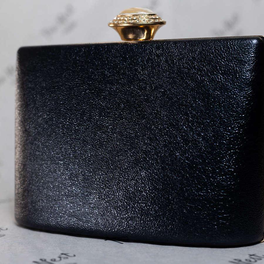 Black Evening Bag with Detachable Shoulder Strap