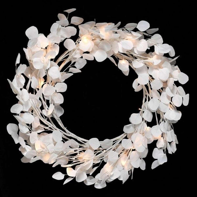 Honesty Wreath with Warm White Lights